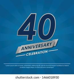 40 years anniversary celebration emblem. anniversary elegance silver logo isolated with ribbon on blue background, vector illustration template design for celebration greeting and invitation card