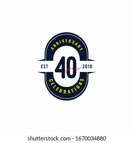 40 Years Anniversary Celebration Est 2010 Vector Template Design Illustration