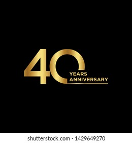 40 years Anniversary Celebration with golden text on dark background, vector template.