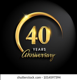 40 years anniversary celebration. Anniversary logo with ring and elegance golden color isolated on black background, vector design for celebration, invitation card, and greeting card