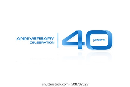 40 years anniversary celebration logo, blue, isolated on white background