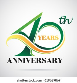 40 years anniversary celebration logo design with decorative ribbon or banner. Happy birthday design of 40th years anniversary celebration.