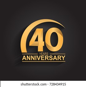 40 years anniversary celebration. Anniversary logo with swoosh and elegance golden color isolated on black background, vector design for celebration, invitation card, and greeting card