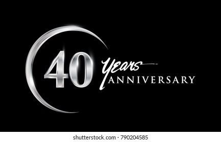 40 years anniversary celebration. Anniversary logo with silver ring elegant design isolated on black background, vector design for celebration, invitation card, and greeting card