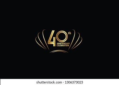 40 years anniversary celebration logotype. anniversary logo with golden and Spark light white color isolated on black background, vector design for celebration, invitation greeting card-Vector