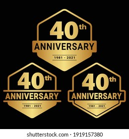 40 years anniversary celebration logotype. 40th anniversary logo collection. Set of anniversary design template. Vector and illustration.