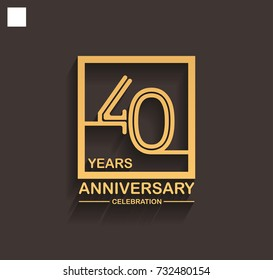 40 years anniversary celebration logotype style linked line in the square with golden color. vector illustration isolated on dark background