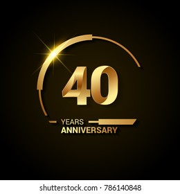 40 Years Anniversary Celebration Logotype. Golden Elegant Vector Illustration with Half Circle, Isolated on Black Background can be use for Celebration, Invitation, and Greeting card