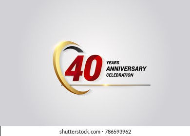 40 Years Anniversary Celebration Logotype. Red Elegant Vector Illustration with Gold Swoosh, Isolated on Black Background can be use for Celebration, Invitation, and Greeting card