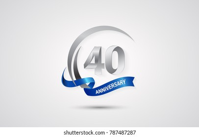 40 Years Anniversary Celebration Logotype. Silver Elegant Vector Illustration  with Swoosh,  Isolated on white Background can be use for Celebration, Invitation, and Greeting card