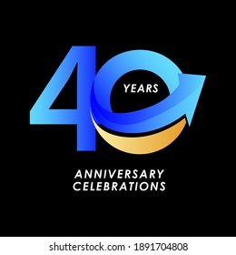 40 Years Anniversary Celebration Number Vector Template Design Illustration