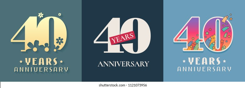 40 years anniversary celebration set of vector icon, logo. Template graphic design elements for 40th anniversary card