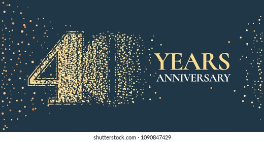 40 years anniversary celebration vector icon, logo. Template horizontal design element with golden glitter stamp for 40th anniversary greeting card