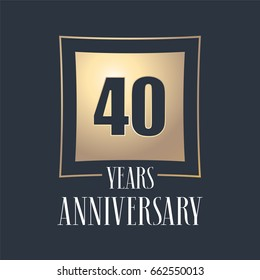 40 years anniversary celebration vector icon, logo. Template design element with golden number for 40th anniversary greeting card
