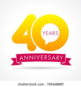 40 years anniversary communication logo. 40th year birthday logotype label, yellow vector number sign and pink ribbon isolated