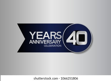 40 years anniversary design celebration silver with blue circle and ribbon isolated on silver background