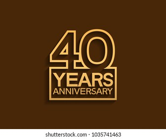 40 years anniversary design line style with square golden color for celebration event
