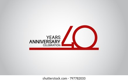 40 years anniversary design with simple line red color isolated on white background for celebration