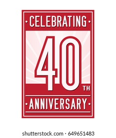 40 years anniversary design template. Vector and illustration
