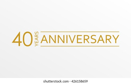 40 years anniversary emblem. Anniversary icon or label. 40 years celebration and congratulation design element. Vector illustration.