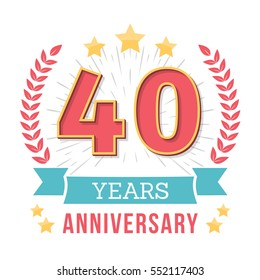 40 Years anniversary emblem with ribbon, laurel wreath and stars, vector eps10 illustration