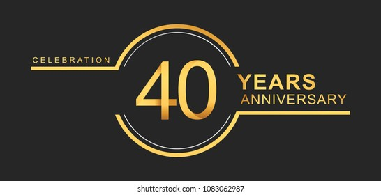 40 years anniversary golden and silver color with circle ring isolated on black background for anniversary celebration event