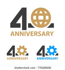 40 years anniversary industry gear globe number - illustration