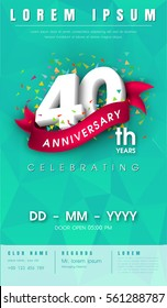40 years anniversary invitation card or emblem - celebration template design , 40th anniversary modern design elements with background polygon and pink ribbon - vector illustration