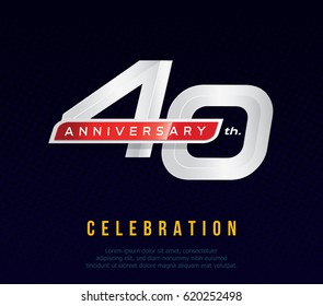 40 years anniversary invitation card, celebration template design, 40th. anniversary logo, dark blue background, vector illustration