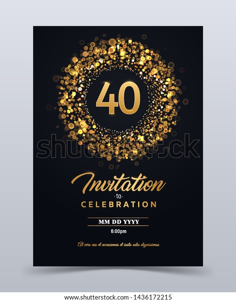 40 Years Anniversary Invitation Card Template Stock Vector