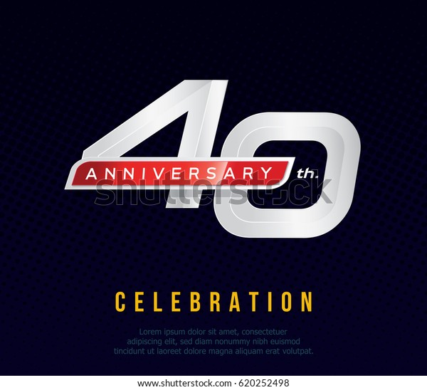 40 Years Anniversary Invitation Card Celebration Stock Image