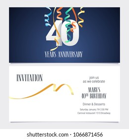 40 years anniversary invitation to celebrate the event vector illustration. Design template element with number and text for 40th birthday card, party invite