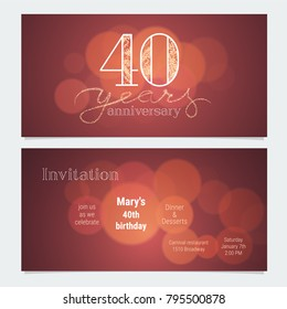 40 Years Anniversary Invitation To Celebration Vector Illustration Graphic Design Element With Bokeh Effect For