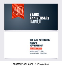 40 years anniversary invitation vector illustration. Template  design element for 40th birthday card, party invite with red banner