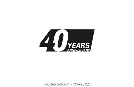 40 Years  Anniversary  Logo Celebration with negative space design. Isolated on White Background