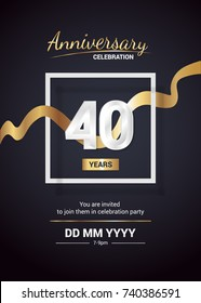 40 Years Anniversary Logo Celebration And Invitation Card With Gold Ribbon Isolated On Dark Background