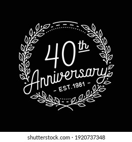 40 years anniversary logo collection. 40th years anniversary celebration hand drawn logotype. Vector and illustration.