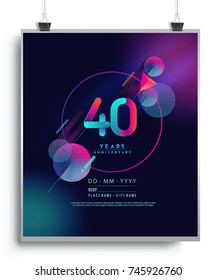 40 Years Anniversary Logo with Colorful Galactic background, Vector Design Template Elements for Invitation Card and Poster Your Birthday Celebration.