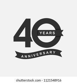 40 Years Anniversary Logo Icon Template, Anniversary lettering with black color. Vector EPS 10.