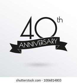 40 years anniversary logo with ribbon. 40th anniversary celebration label. Design element for birthday, invitation, wedding jubilee. Vector illustration.
