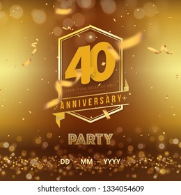 40 years anniversary logo template on gold background. 40th celebrating golden numbers with red ribbon vector and confetti isolated design elements