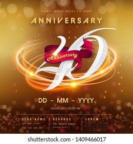 40 years anniversary logo template on golden Abstract futuristic space background. 40th modern technology design celebrating numbers with Hi-tech network digital technology concept design elements.