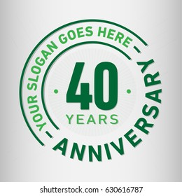 40 years anniversary logo template. Vector and illustration.