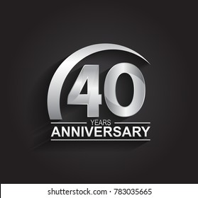 40 years anniversary logotype design with silver color isolated on black background for company celebration