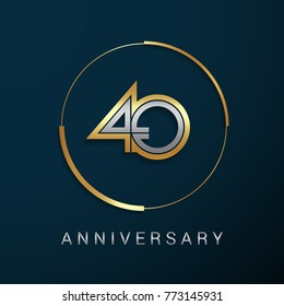 40 Years Anniversary Logotype with  Gold and Silver Multi Linear Number in a Golden Circle , Isolated on Dark Background