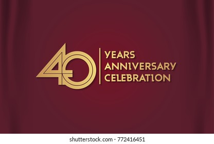 40 Years Anniversary Logotype with  Golden Multi Linear Number Isolated on Red Curtain Background
