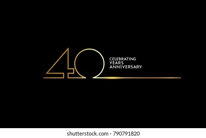 40 Years Anniversary logotype with golden colored font numbers made of one connected line, isolated on black background for company celebration event, birthday