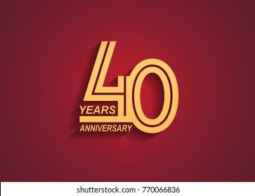 40 years anniversary logotype with linked number golden color isolated on red background for celebration event