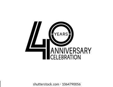 40 years anniversary logotype with multiple line black color isolated on white background for celebration event