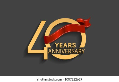 40 years anniversary logotype with red ribbon and golden color for celebration event